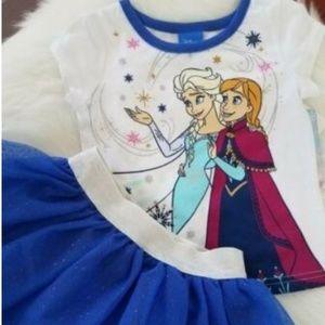 Disney Frozen 2 Pc Set Tutu Sz 2T Blue